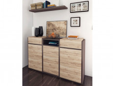 Funky Modern Wide Sideboard Dresser Cabinet in Oak and Grey - Author (KOM3D2S/10/16)