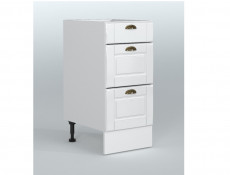 Free Standing White High Gloss Kitchen Cabinet 3 Drawer 400 Base Unit 40cm Shaker Style - Antila