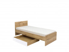 Modern Single Bed Frame Headboard Slats Underbed Storage Drawer White Gloss/Oak - Zele (S383-LOZ/90-D15-WKL90/L21-S383-SZU-DWO/BIP)