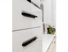 Modern White Gloss Large Glass Display Cabinet Dresser with LED Lights Storage Unit 100cm - Assen