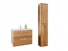 Modern Wall Bathroom Unit Vanity Cabinets Set 60cm Oak Riviera - Remik (REMIK_820_SET_OAK )