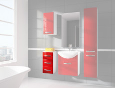 Narrow Bathroom Drawer Cabinet Red High Gloss / White without Worktop - Coral