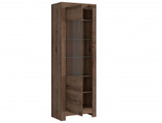 Modern Tall Glass Display Cabinet Showcase Storage Unit LED Lights Oak - Balin