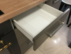 Mocca Dark Grey Kitchen Cabinet 400 Drawer Base Unit 40cm Free Standing Matt Finish - Paula (STO-PAULA-D40-S/3-GR/MOCHA-KP01)