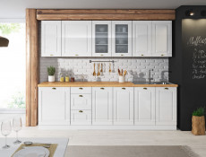 White High Gloss Kitchen Glass 2 Door Cabinet Display Wall 800 Unit 80cm Shaker Style - Antila (HOF-ANTILA-WS80/72-BI-BIP-KP01)
