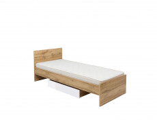 Modern Single Bed Frame with Bed Slats Oak 90cm Headboard - Zele (S383-LOZ/90-DWO)