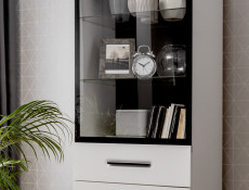 Modern White Gloss Living Room Furniture Entertainment Display Set with LED Lights 290cm - Assen (S513-ASSEN_1-BI/BIP-KPL01)