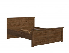 Classic King Size Bed Frame Bedroom Headboard Wooden Slats Dark Oak - Patras (S405-LOZ/160-DARL-KPL01+Wklad/160)