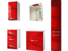 Wall Bathroom Vanity Unit Cabinet & Sink Basin 600mm Red Gloss - Coral