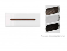 White Gloss Modern Wall Shelf Cabinet Storage Unit with White/Wenge/Black Gloss Insert - Azteca Trio