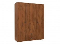 Modern Large Triple Wardrobe with 3 Doors and 2 Drawers Shelving Bedroom Furniture in Dark Oak Effect Finish - Indiana (S31-JSZF3d2s-DSU-KPL01)