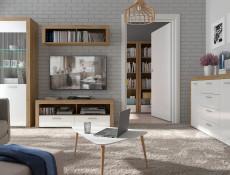 Tall Bookcase Shelf Cabinet Storage Unit With Drawer White Gloss & Oak finish - Balder