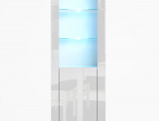 Modern White High Gloss RGB LED Furniture Set: Tall Display Cabinet with Glass Shelving & Entertainment Stand - Lily