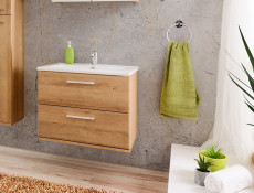 Modern Wall Hung Bathroom Vanity Sink Unit Cabinet 60cm Oak Riviera with Ceramic Basin - Remik