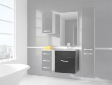 Wall Bathroom Vanity Unit Cabinet & Sink Basin 600mm Grey Gloss - Coral