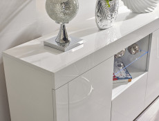 Modern White High Gloss Sideboard Glass Display Cabinet TV Unit Lowboard - Lily (HOF-LILYGLASS-BI/BIP-KP01)