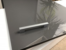 Grey Gloss Kitchen Sink Base Cabinet 80cm Unit + Franke Single Bowl Steel Sink - Modern Luxe (STO-MODERN_LUX-D80_ZL_ZAS-GREY-KP01+FRANKE-SINGLE)
