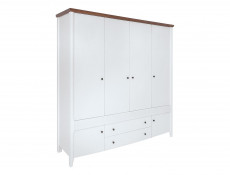Classic Large Quad 6-Door Wardrobe Drawers Shelves Wood White Gloss/Acacia - Kalio (S423-SZF6D2S-BIP / ACZ / BIP)
