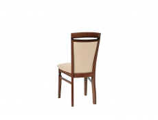 Traditional Dining Chair Solid Wood Walnut Finish Cream Gold Fabric - Bawaria