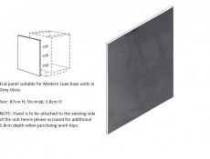 Universal Grey Gloss Base End Panel for Kitchen Cabinets Cupboards 87cm H x 56cm W - Modern Luxe