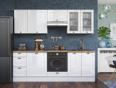 White High Gloss Kitchen 8 Cabinets Unit Set Shaker Cupboards Country Modern Style - Antila