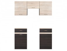 Junona Line Kitchen Set 8 Units 280cm Length  in Wenge / Sonoma Oak
