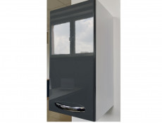 Tall Wall Mounted Bathroom Cabinet 1 Door Unit Grey High Gloss  - Coral