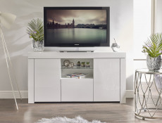 Modern Sideboard Glass Display Cabinet TV Cabinet Lowboard White High Gloss -- Lily