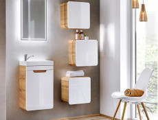 Modern White Gloss / Oak Bathroom Furniture Set Wall Vanity Cabinet Ceramic Sink Cloakroom Storage Unit - Aruba