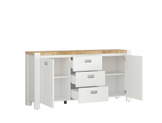 Country Cottage Large Sideboard Storage Cabinet Unit 3-Drawer White/Oak - Dreviso (S378-KOM2D3S/160-BI/DWM/BI)