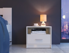 Modern Bedside Cabinet Table Drawer Unit Wenge, White or Sonoma Oak Finish - Nepo (S435-KOM1S-BI-KPL01)