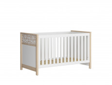 Modern White / Beech Cot Bed Horse Motif Kids Baby Nursery Furniture 140x70cm - Timon
