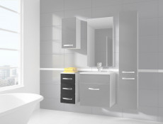 Narrow Bathroom Drawer Cabinet Grey High Gloss / White without Worktop - Coral