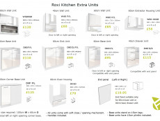 White High Gloss Kitchen Wall Cabinet Cupboard 40cm Unit - Roxi