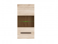 Modern Wall Mounted Display Cabinet Unit One Glazed Door and LED in Light Oak Effect Finish - Elpasso