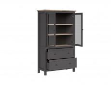 Modern Living Room Furniture Set Cabinet  Shelving TV Unit Country Rustic Style in Grey / Oak Effect - Bocage  (S503-SET)