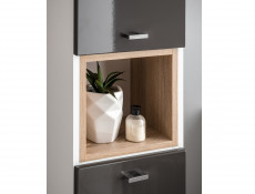 Modern Tall Wall Mounted Bathroom Cabinet Unit Wood Effect Sonoma Grey Gloss/White Mat - Finka (FINKA_800 _GREY)