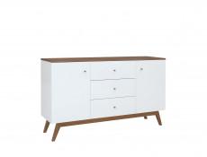 Scandi 2-Door Sideboard Compact Chest of 3-Drawers Wooden Legs White/Larch - Heda (S385-KOM2D3S-BI/MSZ/BIP-KPL01)