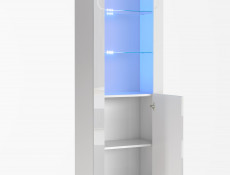 Tall White High Gloss Bookcase Modern 1 Door Display Cabinet Unit with Glass Shelving and Blue LEDs - Lily
