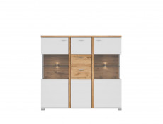 Modern White & Oak Display Sideboard Dresser Storage Unit 2 Drawers 3 - Door Buffet with LED Lights - Alamo