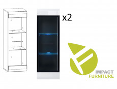 Modern 8-Piece Furniture Living Room Set Storage Cabinet Units White/White Gloss - Fever (S182-FEVER1-BIP/CA-KPL01)