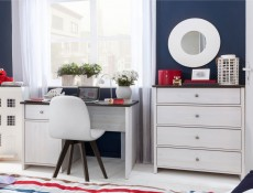 Chest of Drawers White Wash Wood Effect - Porto