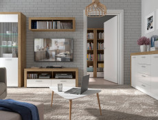 Modern Tall Glass Display Cabinet 1 Door Storage Unit with LED Lighting Oak Effect and White Gloss - Balder