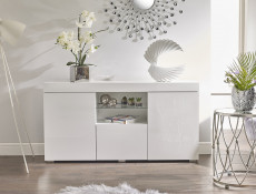 Modern Lowboard Sideboard Glass Display Cabinet Buffet White High Gloss - Lily (STO-LILYGLASS-BI/BIP-KP01)