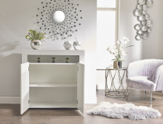 Small Sideboard White High Gloss Display Cabinet Blue LED Light Unit - Lily