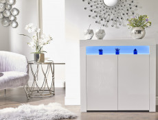 Small Sideboard Display Cabinet White High Gloss 2 Door Unit with RGB LED Light - Lily