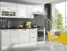 White High Gloss Glass Kitchen Wall Cabinet Cupboard Unit with Glass Doors 80cm - Roxi
