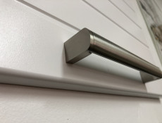 Free Standing White/Light Grey Kitchen Cabinet Corner Base Cupboard Unit 90cm - Paula