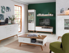 Scandi White Gloss/Walnut finish Wide Living Room Display Storage Cabinet with White LED Lights Wooden Legs  - Heda (S385-REG1D1W-BI/MSZ/BIP-KPL01+LED)
