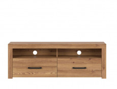 Modern Compact TV Cabinet 2 Drawer Media Entertainment Unit Oak finish - Vasto (S429-RTV2S-MSZ)